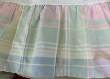 Cannon Full / Double Plaid Bedskirt Pastel Colors Green, Pink, Blue, & Yellow