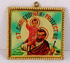 Vtg St. Christopher Lady Of The Highway Double Image Faux Gold Frame Collectible