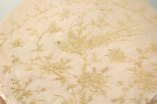 1900s antique silk table topper piano shawl ivory and pink couching embroidery