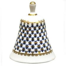 Russian Imperial Lomonosov Porcelain Dinner Bell Cobalt Net 22k Gold Russia Rare