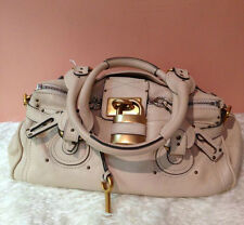 Auth Chloe Chloé Paddington Ivory Creamy White with Gold Lock Shoulder Tote Bag