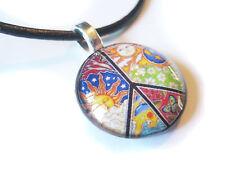 60's Peace Sign Glass Bubble Pendant Necklace