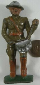 1930's Cast Iron Grey Iron Soldier Drummer #1
