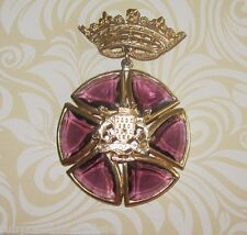 UNUSUAL & SPECTACULAR VINTAGE ROSE PINK GLASS BROOCH / MEDALLION  IN DROP DESIGN