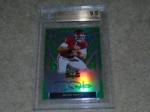 2020 Leaf Valiant Jalen Hurts Green Prismatic Rookie Auto 58/75 BGS 9.5/10