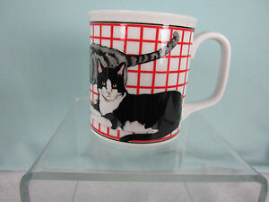 Ceramic Coffee Tea Mug 3 Cats in various poses Black White Gray New