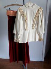 Teffts Miami Vintage Victorian Style Ivory Blouse Rust Velvet Skirt Bridesmaid