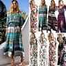 Women's Long Sleeve Maxi Dress Boho Floral Summer Party Beach Kaftan Sundress UK