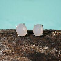 925 Sterling Silver Rose Quartz Oval Cut Gemstone Stud Earrings Girls Jewelry