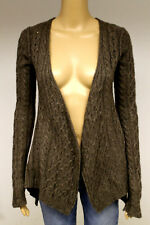 "#5523 INHABIT BROWN 100% CASHMERE OPEN FRONT CABLE SWEATER WOMENS P 30"" BUST"