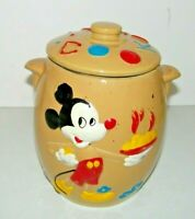 Vintage Old Walt Disney Productions Mickey Mouse Stoneware Cookie Jar Nice Paint