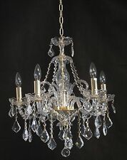 """NEW and REAL CRYSTAL Pendant Chandelier-Style GOLD Fixture (D21"""" x H22"""") 5-Light"""