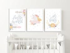 Girls Nursery Prints / Pictures, Unicorn, Hello World, Oh Baby, Girls Home Decor