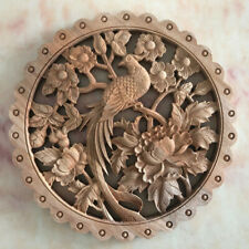 28cm Chinese Hand Carved Flower Bird Statue Camphor Wood Plate Wall Sculpture