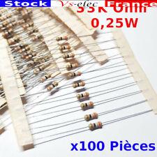 x100 Pcs 33 K Ohm Résistance carbone , ± 5%  33K 1/4 W 0.25 MF25 7099I