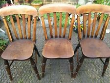3 LOVELY ANTIQUE~VINTAGE FARMHOUSE KITCHEN CHAIRS,OAK or PINE ? SOLID NOT REPRO