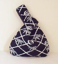 Navy & White Japanese Knot Bag / Wristlet, Bamboo Blossom design fabric handmade