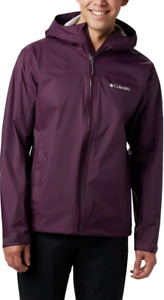 Columbia Mens XLT EvaPOURation Jacket Hooded Raincoat Black Cherry XL TALL