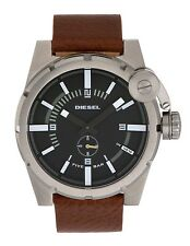 Diesel Mens DZ4270 Black Dial Stainless Steel Case Brown Leather Strap Watch