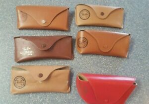 Lot of 6 Ray Ban Tan Leather Designer Sunglasses Cases w/ Vintage One Red