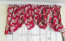 "RALPH LAUREN RED ""ELENA FLORAL""100% COTTON ADJUSTABLE BALLOON VALANCE"