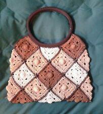 Vintage 1970s Crochet Mesh Handbag Purse *Lined with Inner Zipper Pocket*