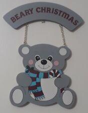 Beary Christmas Holiday Greeting Hanger Blue Grey Teddy Bear