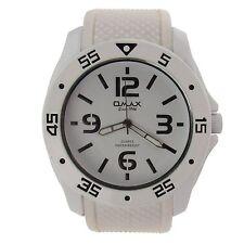 Herren Armbanduhr Omax Design Analog Quarz Uhr Ziffern Silikon Armband weiß