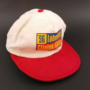 Vintage '96 Laborers Clinton/Gore Red/White Snapback Trucker Hat Cap Made in USA
