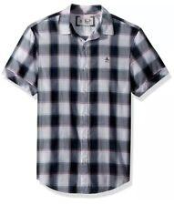 BNWT Mens Penguin Original Grey/ Dark Sapphire Short Sleeved Shirt. Size M.
