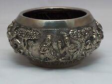Handmade Asian Art Decorated Silver Bowl SE Asia Cambodia Burma Thailand Tibet