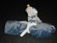 Doudou Couverture Éléphant Bleu Écru Feuilles Bao et Wappi Noukies Noukie's TTBE