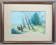 "JULIO SILVA (1930)__'A Slow Journey'__O/B 14""x9.5""__Signed/Framed__FREE SHIPPING"
