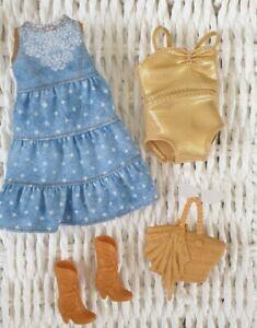 Barbie Doll Curvy Fashionista Fashion Clothes Bundle Dress Swimsuit Bag Boots