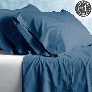 Park Avenue European Vintage Washed Cotton Sheet sets Blue