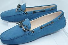 New Tod's Women's Blue Shoes Flats Size 39 Rubber Moccasin Leather