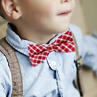Children Kids Boys Toddler Infant Plaid Bowtie Pre Tied Wedding Bow Tie Necktie