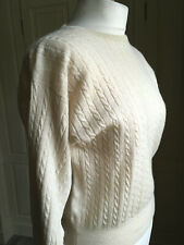 "Pringle of Scotland 100% lambswool cable twist oatmeal short jumper 38"" (UK12)"