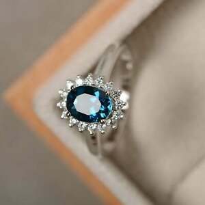 925 Sterling Silver Ring With GTL Certified London Blue Topaz Female Gift Ring