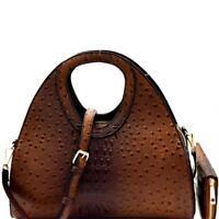 Ostrich Embossed Satchel Handbag Wallet SET
