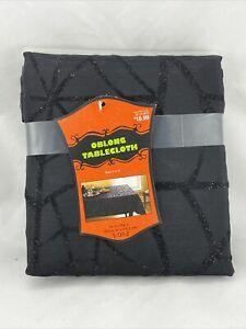 Halloween Oblong Table Cloth Black Spiderweb W/ Glitter Accents 6-8 Seats