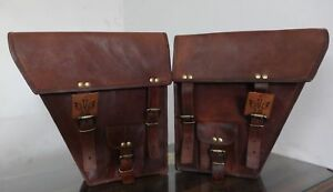 Zwei Braun Motorrad Seitentasche Leder Seitentasche Satteltaschen  2 Bag