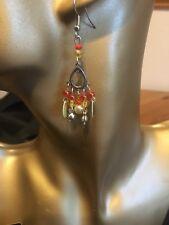 Bead and shell chandelier drop hand-made earrings -TIBETAN SILVER -ORANGE