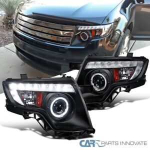 For 07-10 Ford Edge Matte Black LED DRL Dual Halo Projector Headlights Lamps