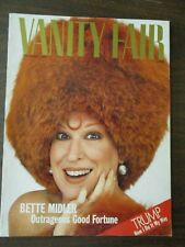 VANITY FAIR MAGAZINE DECEMBER 1987 BETTE MIDDLER OUTRAGEOUS FORTUNE DONALD TRUMP
