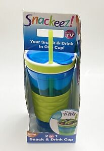 NEW Snackeez 2-in-1 Snack and Drink Cup, Blue & Green, As Seen On TV
