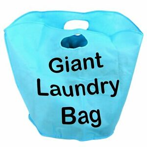 Giant Laundry Bag Basket Handles Foldable Washing Sack Clothes Storage Bin Carry