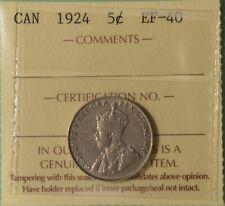 1924 Canada 5 Cents  - Graded ICCS EF-40 -  Serial XNP 743