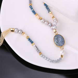 Jewelry Natural Pearl Beaded Necklace Gold Tassel Chain Sodalite Stone Necklaces