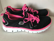 NEW! SKECHERS FLEX SOLE LIGHTWEIGHT RUNNING TRAINING SHOES BLACK PINK 8.5 39
